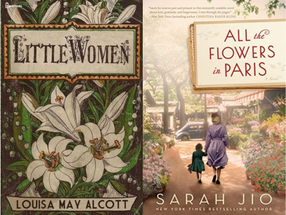 little women and all the flowers in paris book cover collage